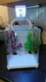 Cube fish tank with led lights filter and pump