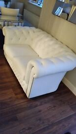 3 + 2 Seater Chesterfield white leather sofa's