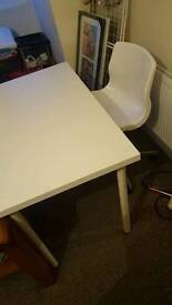 White ikea desk and chair