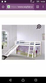 Kids white wooden slide bed