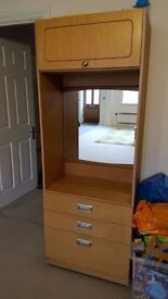 Dressing Table with Storage at top and 3 Drawers at the bottom with wheels