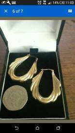 9ct gold large creole earrings and white gold hoops