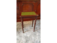 Green topped wooden small table