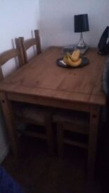 Dining table wood 4 chairs