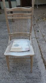 Striped back Wood chair for fixing up Project. Needs seat fitting