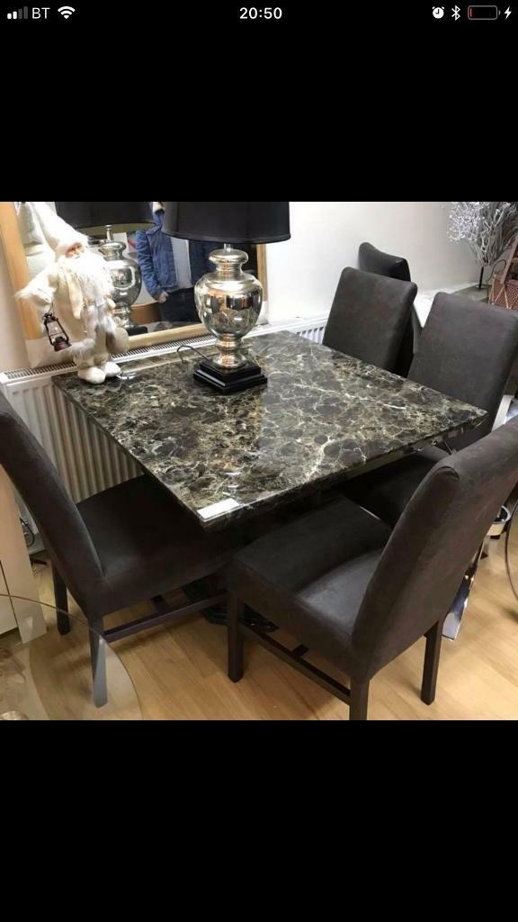 Beautiful mocha square engineered marble dining table