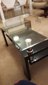 Modern Black gloss and glass coffee table with chrome