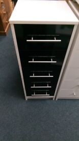 New 5 drawer narrow chest black gloss and white