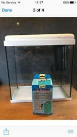 Fish Tank, with white lid, filter and two spare cartridges - 14 litre tank