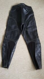Ladies black leather motorcycle jacket and trousers by Frank Thomas