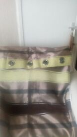 Faux Silk Brown and Green lined eyelet curtains. 90 x 90