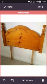 Single bed pine headboard/ VGC / RRP £65