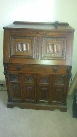 Old Charm Solid Oak Computer Bureau/Drinks Cabinet/ Writing desk