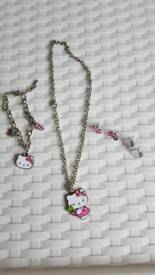 Brand new Hello Kitty silver jewellery set