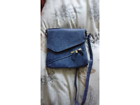 Ladies Navy Blue Over The Shoulder HandBag With Bow On The Front