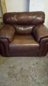 Brown leather arm chairs x2