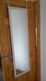 Over-door mirror in white frame