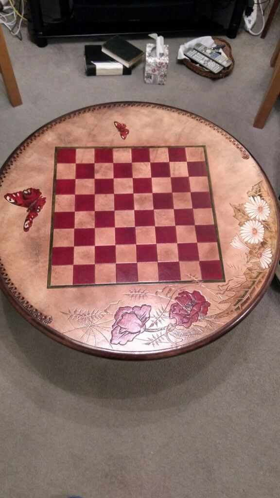Magnificent Chess Coffee Table Leather With Glass Top In St Neots Cambridgeshire Gumtree Ncnpc Chair Design For Home Ncnpcorg