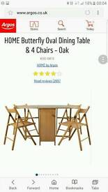 Oak folding dining table with 4 chairs