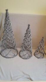 Christmas decorations set of 3 silver wicker trees brand new