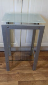 *JUST REDUCED* top quality expensive (RRP £69.99) side/telephone table with glass top & bottom shelf