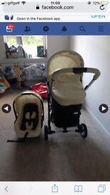Cream my babiie travel system comes with car seat and carry cot