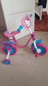 "Hello kitty 10""kids bike with stabilisers"