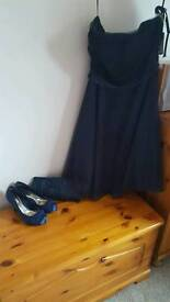 Navy blue prom dress, with clutch bag, and size 4 shoes