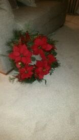 Christmas wreath for outdoor or indoor use. Red ponsettia. Excellent condition.