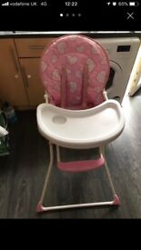 Highchair pink with hearts £10