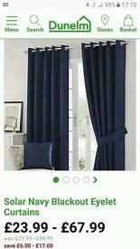 "Solar navy eyelet blackout curtains 90"" x 90"" (set of two)"