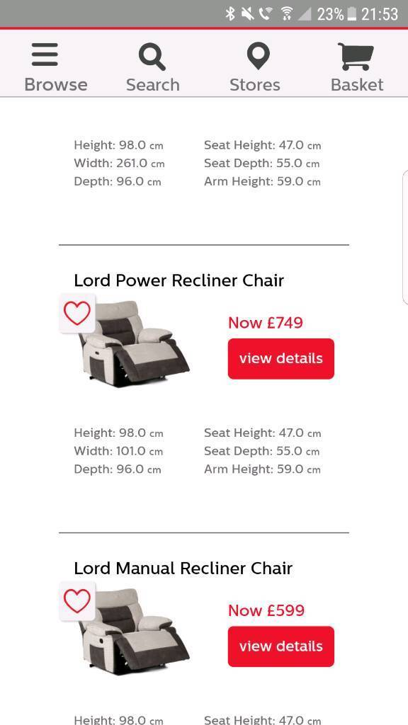 scs lord 4 seater recliner sofa and electric recliner chair in