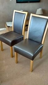 6 brown leather and solid oak dining chairs