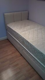 Single Bed with Mattress, Headboard and 2 Drawers - used twice