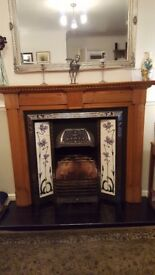 Victorian Style tiled fireplace with pine surround, black hearth & grate