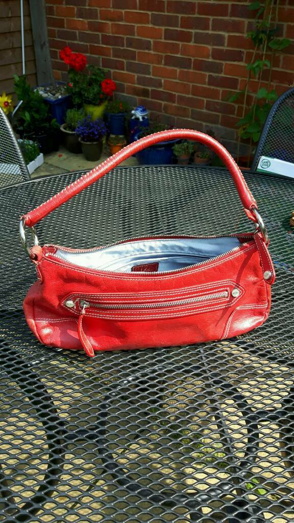 Red leather hand bag