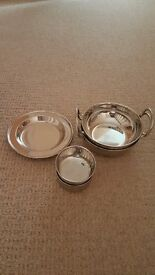 Set of Stainless Steel Indian Serving Dishes