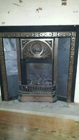 Tiled Cast Iron Fireplace With Gas Fire