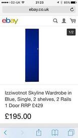 Izziwotnot skyline wardrobe in gloss blue brand new