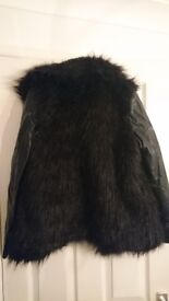 Black faux leather and fur size 10 jacket