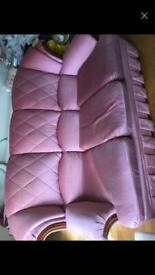 Velvet 3 sofa seater pink silk cuddler vintage 1980s antique arms crushed tight pillow cushion back