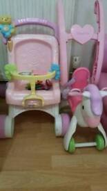 Pushchair and push along horse