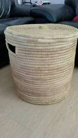 Woven wicker laundry basket
