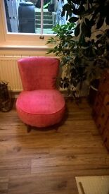 small cocktail chair in hot pink