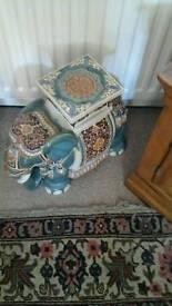 Decorative elephant stool