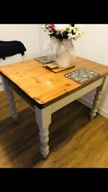 farmhouse dining table plus 2 spindle chairs