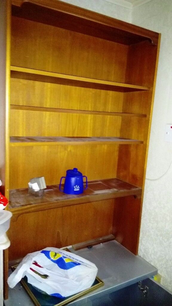 Shelving with underneath cupboard