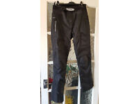 UNISEX Black Textile motorcycle Trousers SZ SMALL (mens 30/32) Will Post