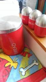 Red tea coffee sugar and bread tin