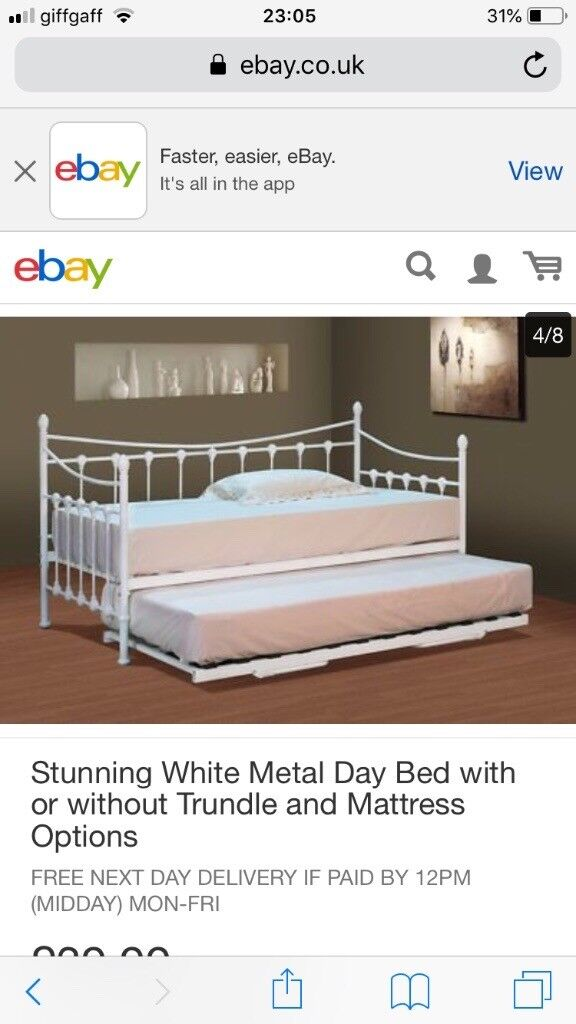 White Metal Day Bed With Trundle Mattress Not Incl In Bolton